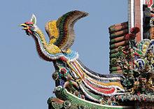 Architecture des pagodes - Symbole du phénix s'envolant