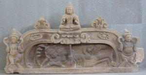 Vishnu s'allongeant se reposant sur le serpent Ananta en attendant le prochain cycle de naissance-destruction cosmique